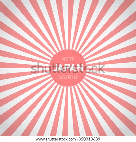 Illustration of Japan Flag Sunburst Vector Background. Asian Japanese Flag with Red Sun Stripes Vector Illustration - stock vector