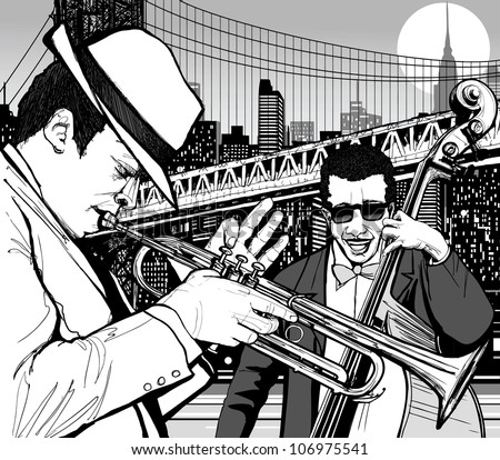 Illustration of jazz musicians in New york with trumpet and double bass - stock vector