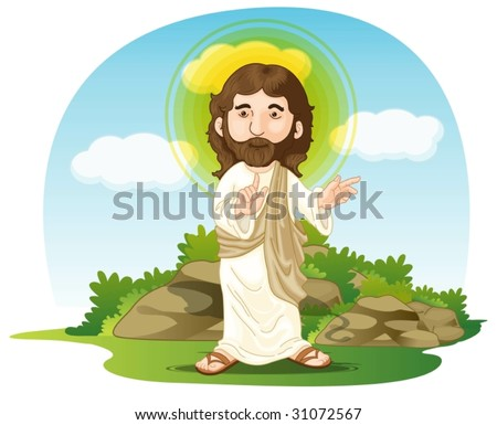 illustration of jesus christ on white and blue - stock vector