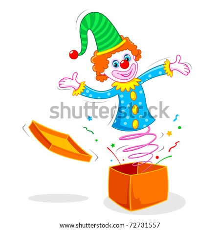 illustration of joker coming out of box - stock vector