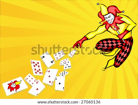 Illustration of joker throwing poker cards - stock vector