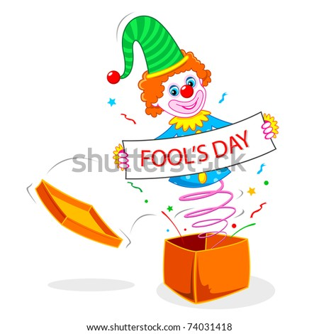 illustration of joker wishing fool's day popping out of gift box - stock vector