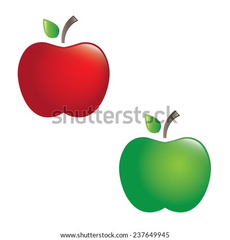 Illustration of juicy apples. vector - stock vector