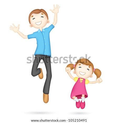 illustration of jumping 3d father and daughter in vector fully scalable - stock vector
