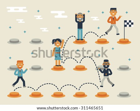 Illustration of jumping on the pathway, leadership concept - stock vector