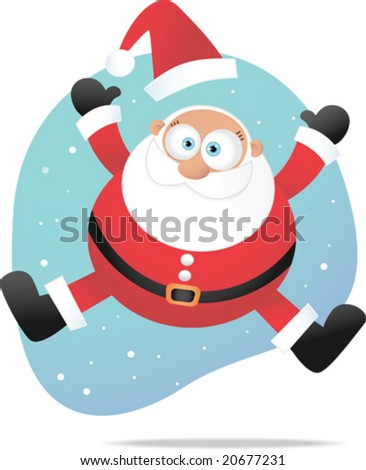 Illustration of Jumping Santa - stock vector