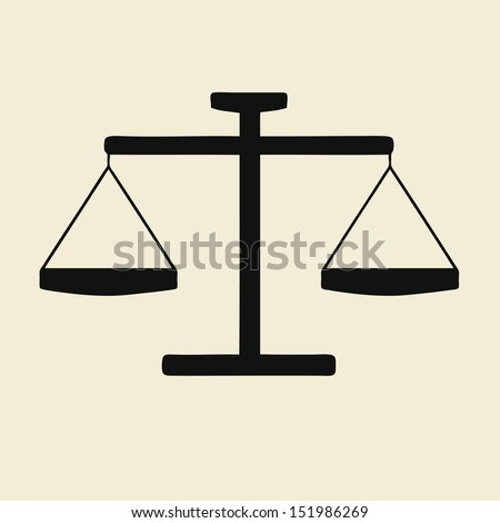 Illustration of justice scales icon - stock vector