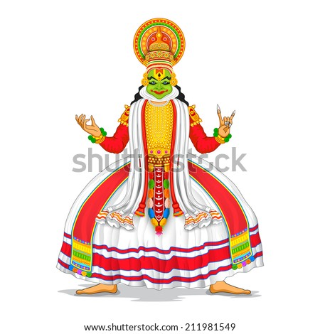 illustration of Kathakali dancer in colorful costume - stock vector