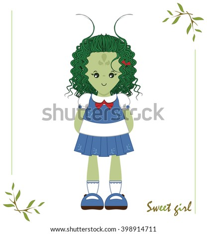 Illustration of kawaii alien monster girl with blue vest, skirt, white shirt, socks, bows ribbon. Cartoon flat style, elements for festive, childish design. Isolated vector object  - stock vector