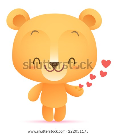 Illustration of Kawaii Bear giving heart - stock vector