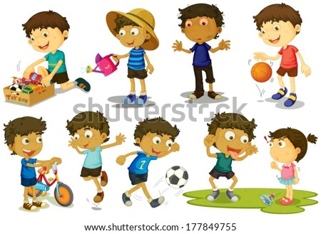 Illustration of kid playing various sports - stock vector
