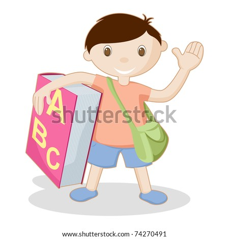 illustration of kid standing with book and school bag on white background - stock vector