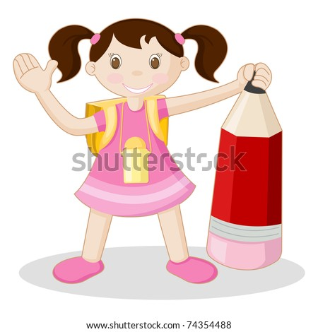 illustration of kid standing with pencil and school bag on white background - stock vector