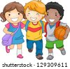 Illustration of Kid Students as Close Friends - stock photo