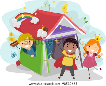 Illustration of Kids Acting Out Stories from a Children's Book - stock vector
