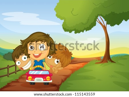 illustration of kids and a car in a beautiful nature - stock vector