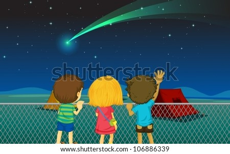 illustration of kids and comet in the night sky