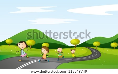 illustration of kids and road in a beautiful nature - stock vector