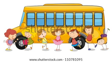 illustration of kids and school bus on a white - stock vector