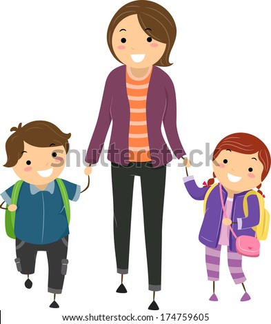 Illustration of Kids Being Escorted by Their Mom to School - stock vector