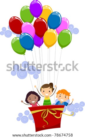 Illustration of Kids Being Lifted by Balloons - stock vector