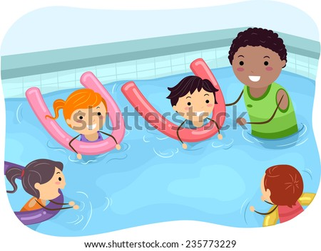 Illustration of Kids Being Taught How to Swim by a Swimming Coach - stock vector