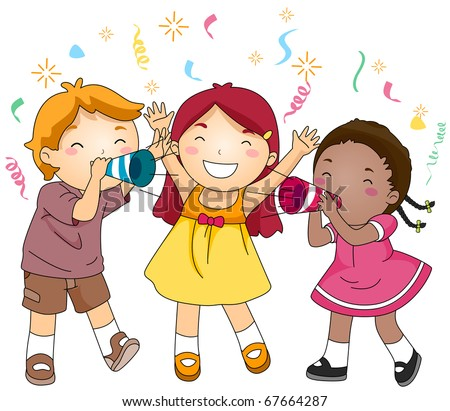 Illustration of Kids Blowing Paper Trumpets in Celebration of the New Year - stock vector