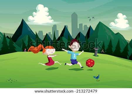 Illustration of kids ( boy and girl ) playing soccer with a ball in the park vector - stock vector