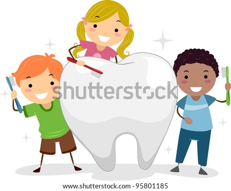Illustration of Kids Brushing a Tooth - stock vector