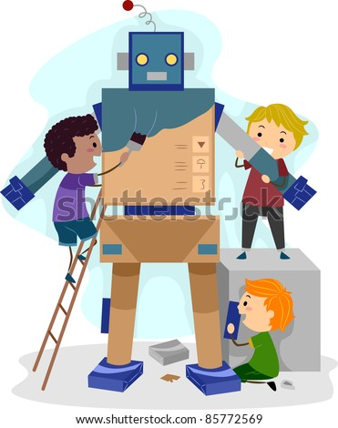 Illustration of Kids Building a Robot - stock vector
