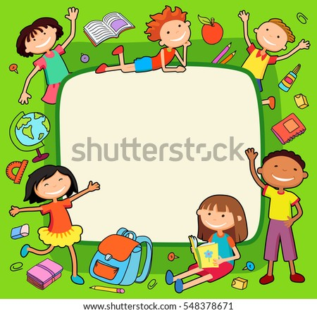 Illustration Of Kids Bunner Around Square Banner Behind Poster School Tools Vector Green Background