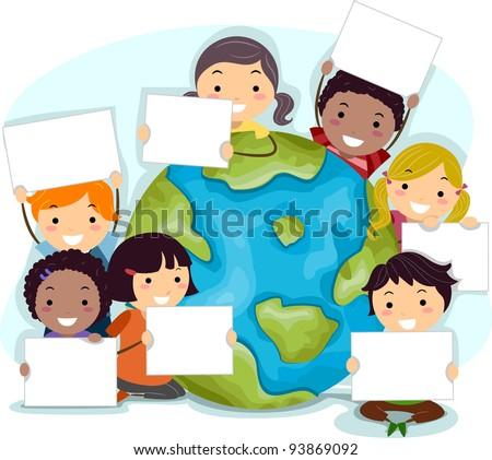 Illustration of Kids Celebrating Earth Day - stock vector