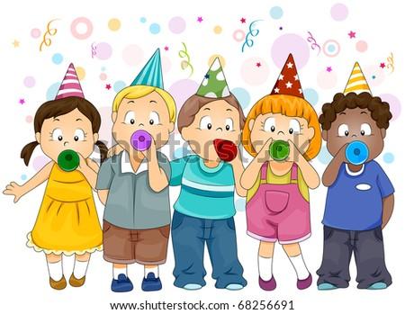 Illustration of Kids Celebrating New Year - stock vector