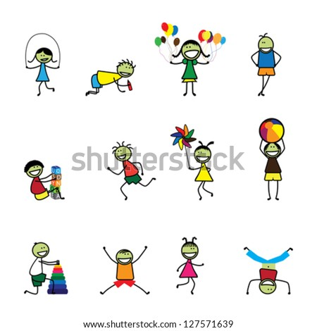 Illustration of kids(children) playing and having fun at school. The girls and boys are skipping, playing ball and balloons, running, jumping, alphabet blocks, and other fun activities - stock vector