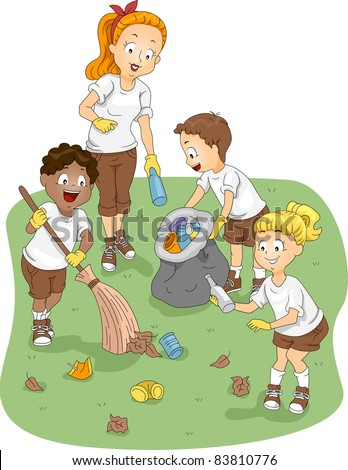 Illustration of Kids Cleaning a Camp - stock vector
