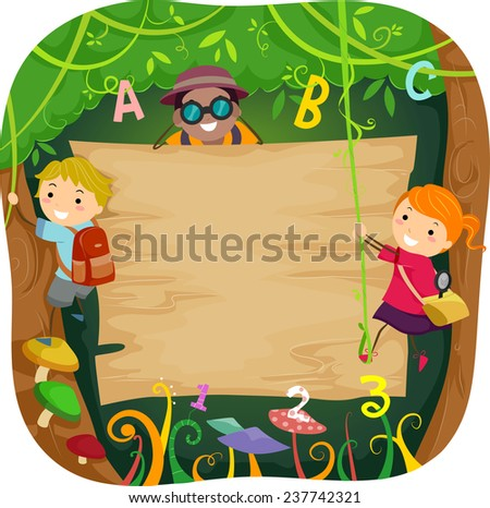 Illustration of Kids Climbing a Board in the Forest Surrounded by Vines - stock vector