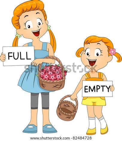 Illustration of Kids Comparing Baskets - stock vector