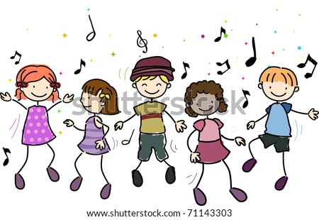 Illustration of Kids Dancing Along to Music - stock vector