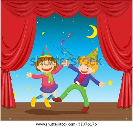 illustration of kids dancing on stage