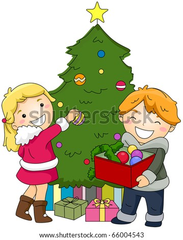 Illustration of Kids Decorating a Christmas Tree - stock vector