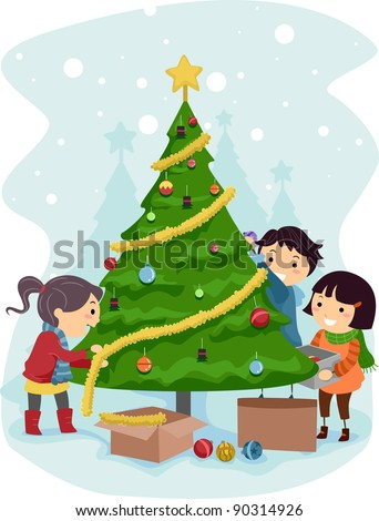 Kids Decorating For Christmas kids decorating christmas tree stock images, royalty-free images