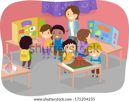 Illustration of Kids Displaying Their Works at a Science Fair - stock vector