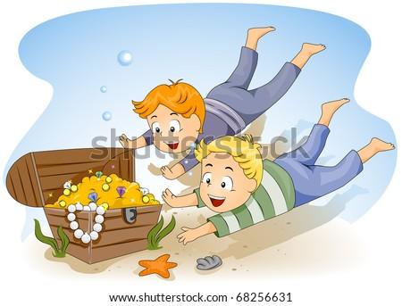 Illustration of Kids Diving for Sunken Treasure - stock vector