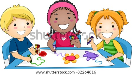 Illustration of Kids Drawing - stock vector