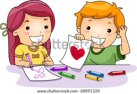 Illustration of Kids Drawing Valentine-related Things - stock vector