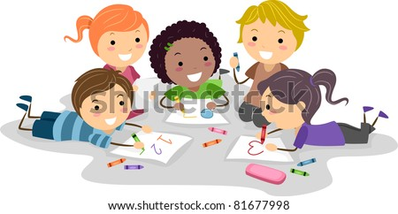 Illustration of Kids Drawing with Crayons - stock vector