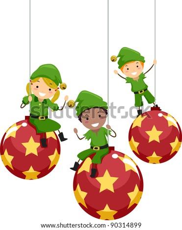 Illustration of Kids Dressed as Christmas Elves - stock vector