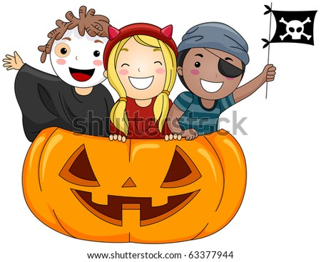 Illustration of Kids Dressed in Costumes Standing inside a Giant Jack o Lantern