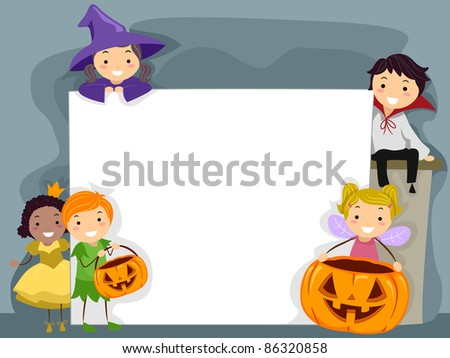 Illustration of Kids Dressed in Halloween Costumes - stock vector