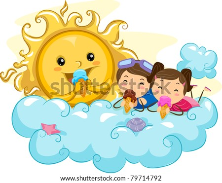 Illustration of Kids Eating Ice Cream with the Sun